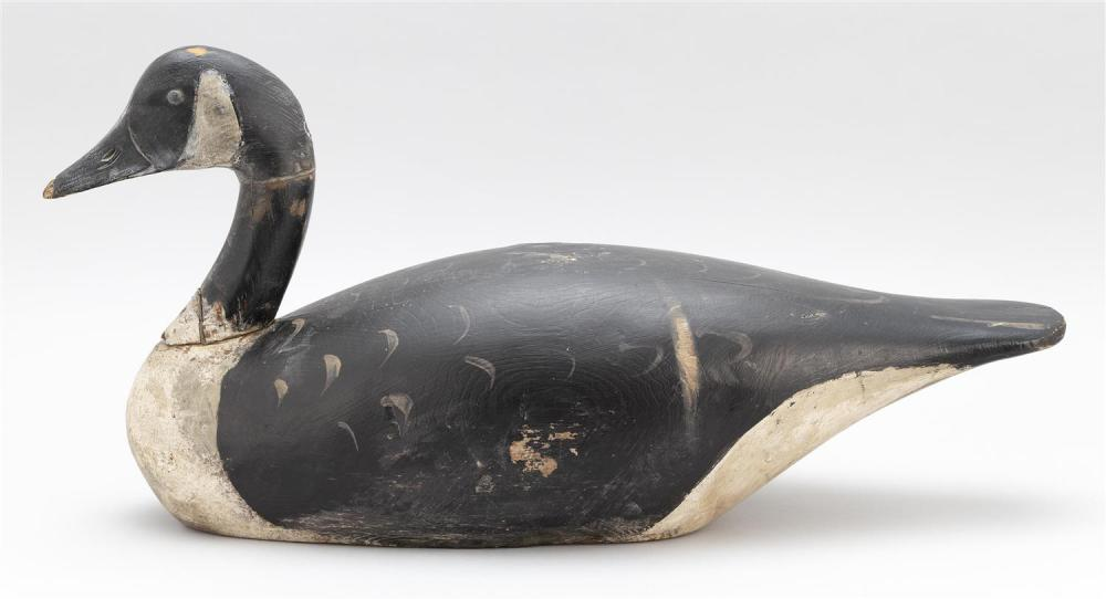 A. ELMER CROWELL CANADA GOOSE DECOY Repainted. Oval brand. Rig brand on underside for