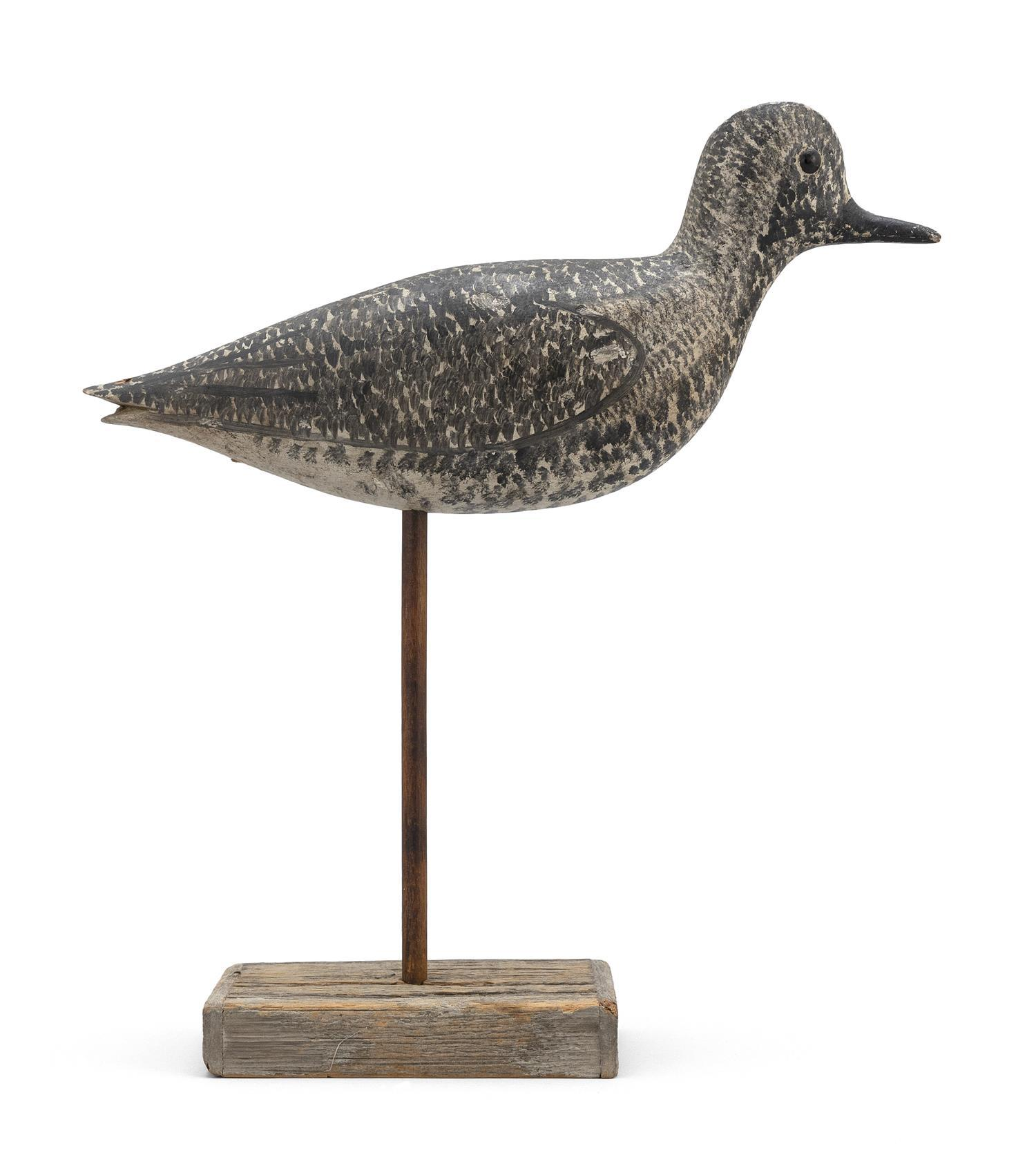 "GEORGE BOYD BLACK-BELLIED PLOVER DECOY Early 20th Century. Black glass eyes. Retains superb original paint. Length 10.5"". From the M..."