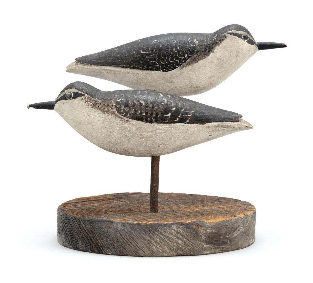 PAIR OF MASSACHUSETTS SANDPIPER DECOYS Maker unknown. Brass tack eyes. Slightly raised wing tips. Backs with nicely executed feather...