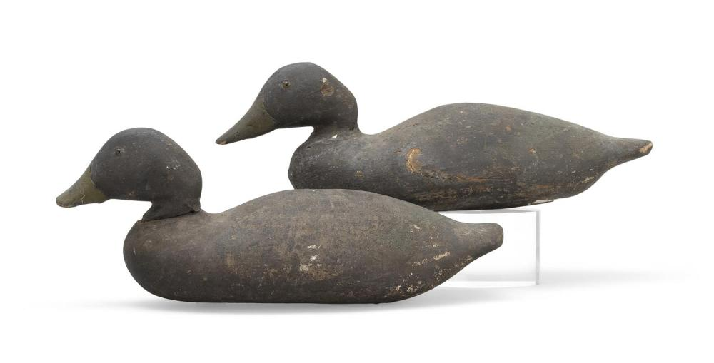 "TWO DODGE FACTORY BLACK DUCK DECOYS Rig brand for ""Bourne"". Lengths 16.5"" and 17.25"". From the Mr. & Mrs. Ken DeLong Collection of B..."
