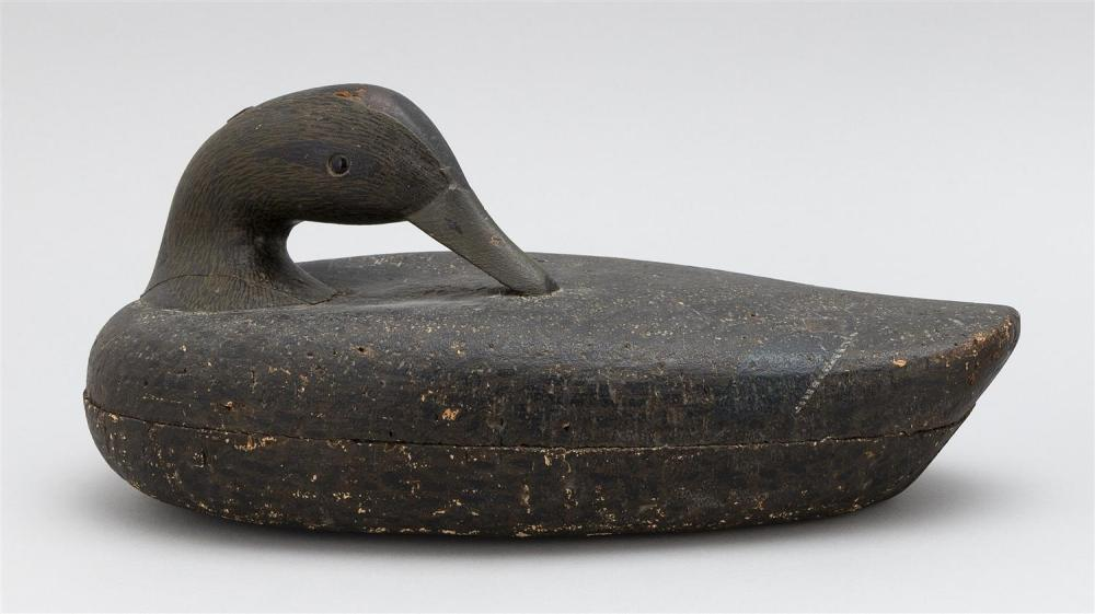 GEORGE B. ROBERT CORK-BODIED BLACK DUCK DECOY In preening position. Rig brand on underside for