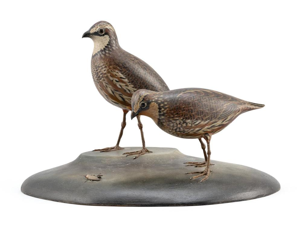 EXTREMELY RARE PAIR OF A. ELMER CROWELL DECORATIVE LIFE-SIZE BOBWHITE QUAIL Glass eyes. Carved tail feathers. Mounted together on st...