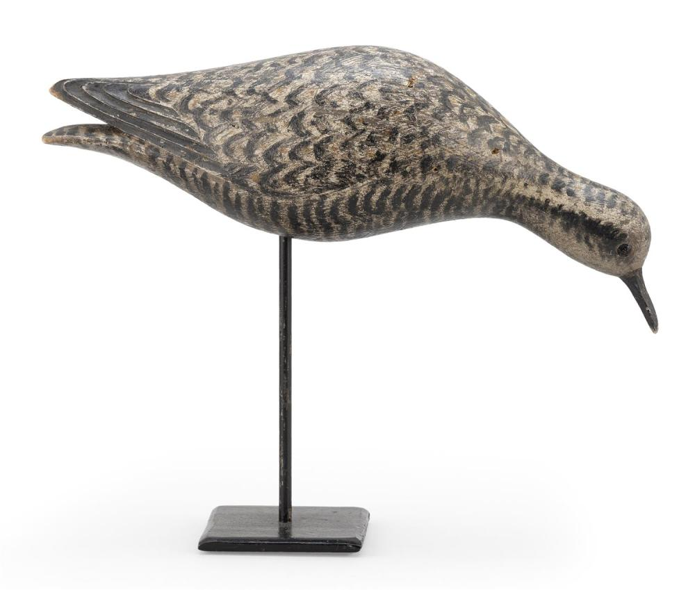 RARE A. ELMER CROWELL GOLDEN PLOVER DECOY IN ECLIPSE PLUMAGE In feeding position. Original bill with hairline crack. Glass eyes; rig...