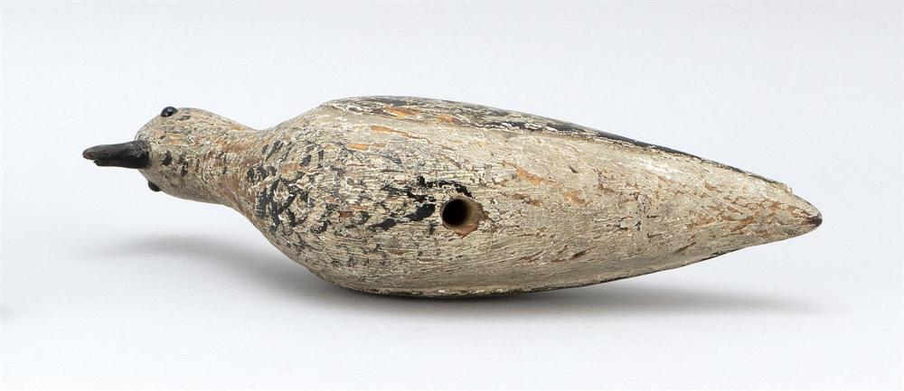 MASSACHUSETTS GOLDEN PLOVER DECOY Glass eyes. Original paint with gunning wear. Carved wing detail. Length 11