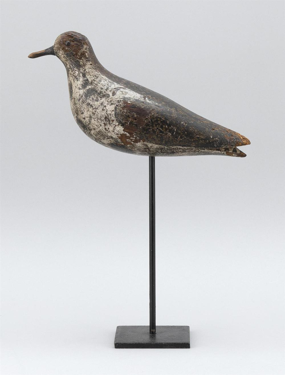 MASSACHUSETTS GOLDEN PLOVER DECOY Maker unknown. Tack eyes. Original paint with considerable gunning wear. Length 10