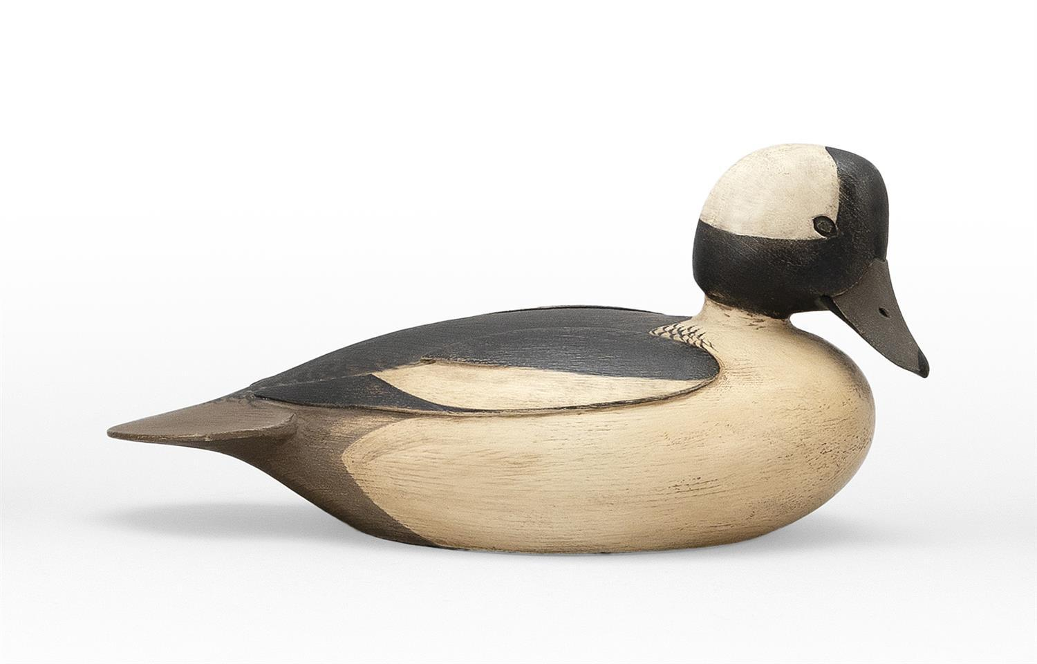 "MARTY COLLINS BUFFLEHEAD DRAKE DECOY Carved eyes and wings. Length 10.75""."