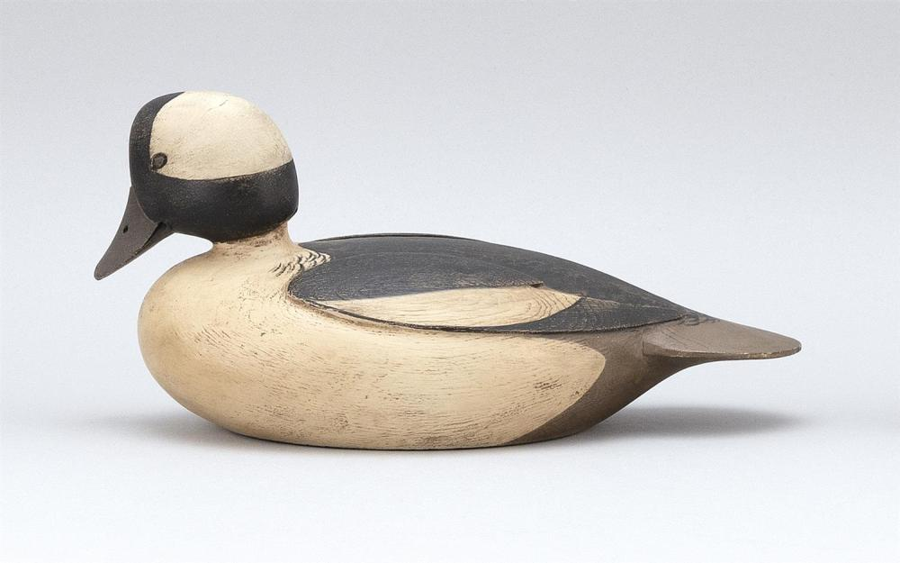 MARTY COLLINS BUFFLEHEAD DRAKE DECOY Carved eyes and wings. Length 10.75