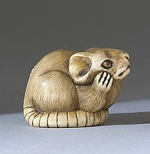 IVORY NETSUKE By Bishu. Depicting a rat with inlaid eyes. Height 1.25