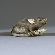 IVORY NETSUKE In the form of a rat with inlaid eyes gnawing on a nut. Length 1.75