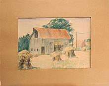 """VERA ALICE GRIFFITH, American, d. 1906, A barn with haystacks., Watercolor on paper, 11"""" x 15""""."""