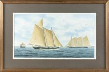 """SUZY AALUND, America, 20th Century, """"A Pungy and a Ram (Chesapeake Sailing Craft)"""",, Watercolor on paper, 11"""" x 21.5"""". Framed 19.5""""..."""