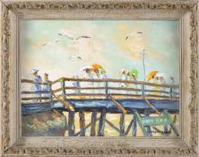 "CHRISTOPHER G. WILLETT, Pennsylvania, b. 1959, ""Provincetown, Mass""., Oil on masonite, 12"" x 16"". Framed 15"" x 19""."