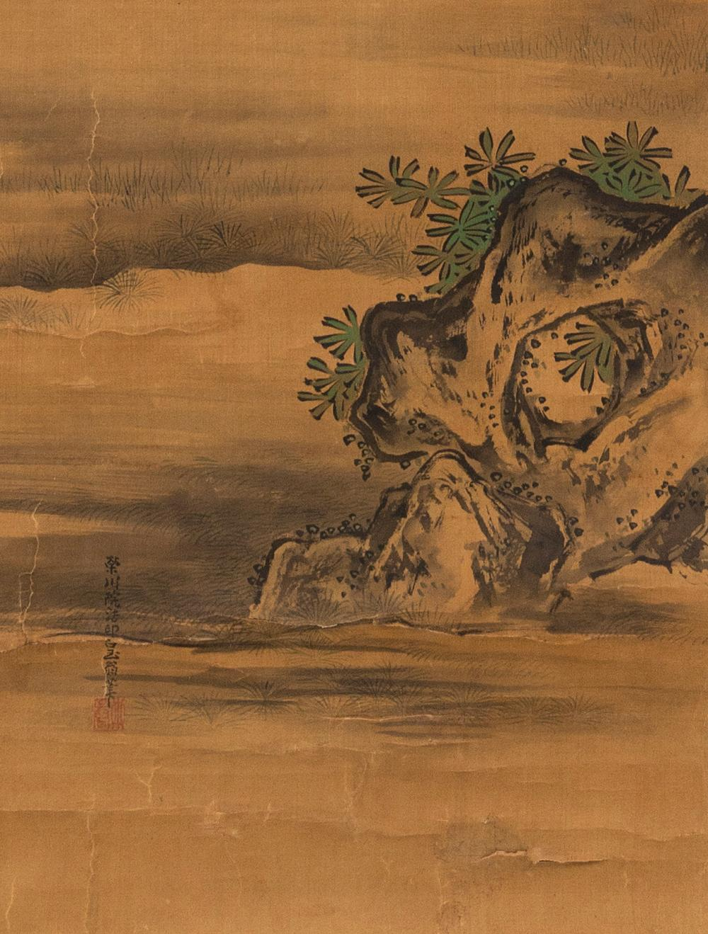 PAIR OF JAPANESE KANO-STYLE SCROLL PAINTINGS ON SILK One, attributed to Yosenin Kanenobu (1753-1808), depicts a scholar and attendan...