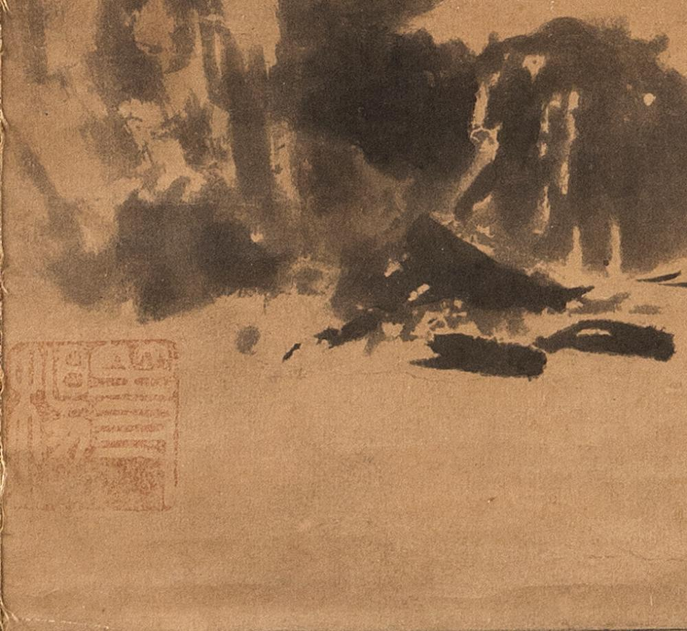 JAPANESE SESSHU SCHOOL SCROLL PAINTING ON PAPER Depicts a river landscape with sailboat, pavilion and distant hills. Marked with Ses...