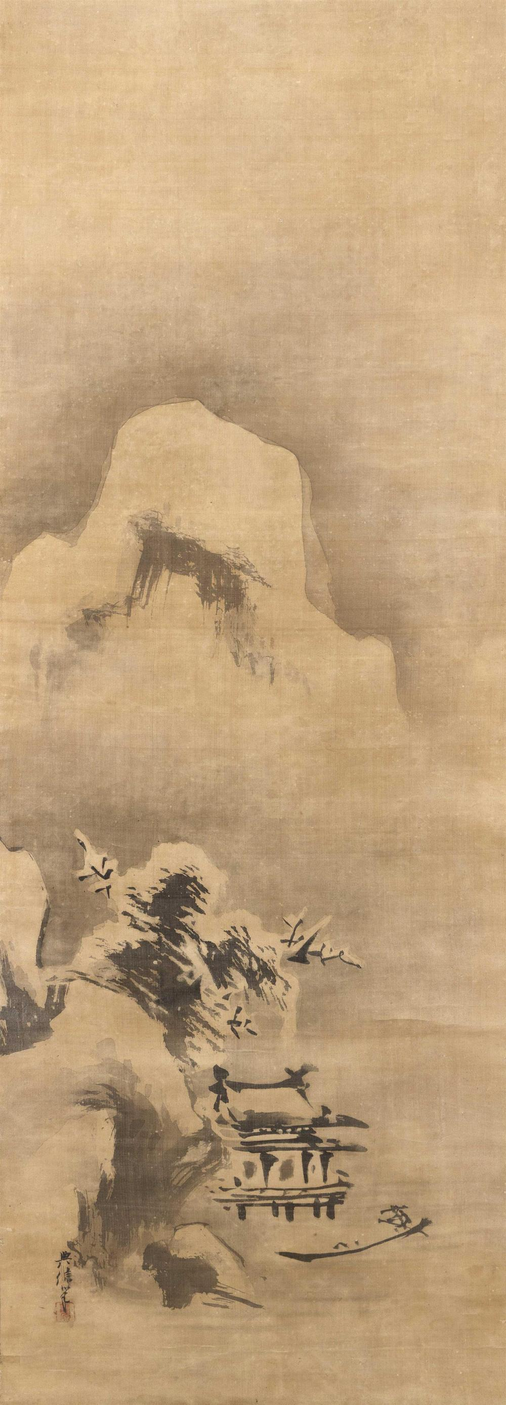 JAPANESE SCROLL PAINTING ON SILK BY KANO EISEN-IN II Depicts a snowy winter scene with a boatman and a pavilion beneath towering cli...