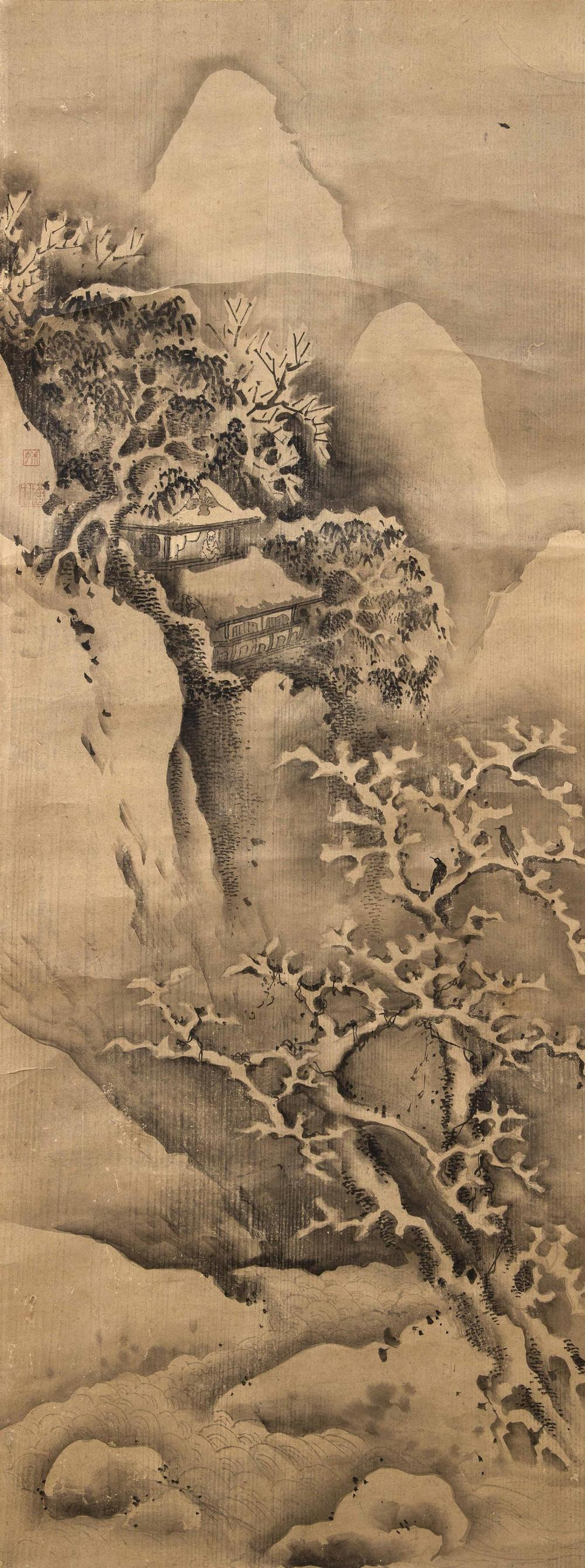 "JAPANESE SCROLL PAINTING ON PAPER Depicts a sage watching birds in a snow-covered tree, and mountains in the background. 51"" x 19.25..."