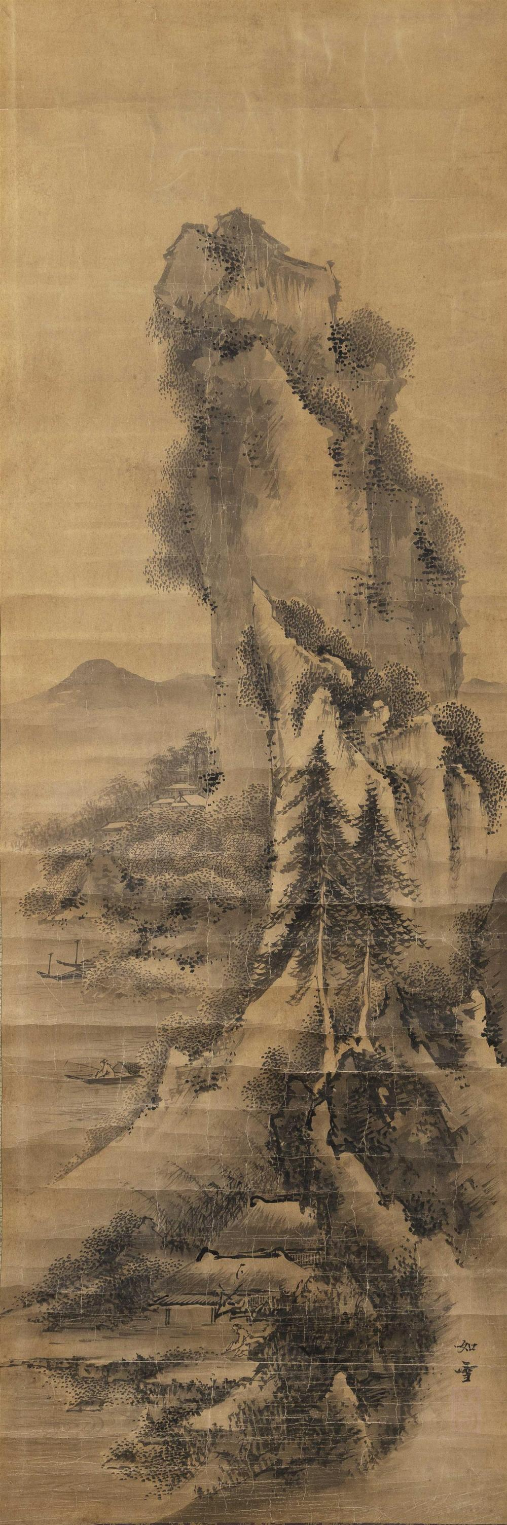 SET OF THREE JAPANESE SCROLL PAINTINGS ON PAPER Central scroll depicts Kwannon and the flanking scrolls depict mountain and seaside...