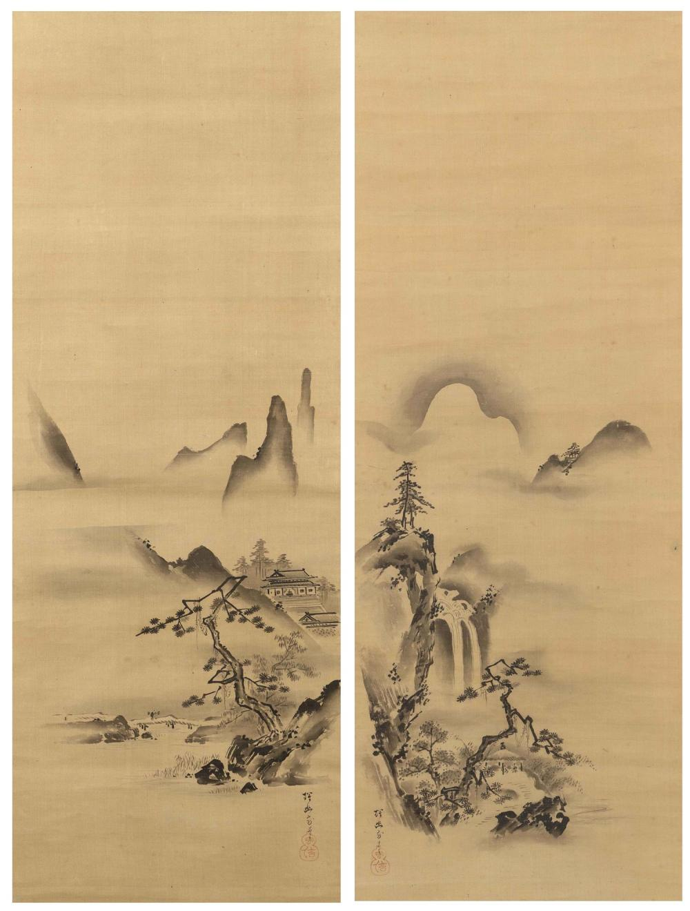 PAIR OF JAPANESE SCROLL PAINTINGS ON SILK BY KANO TANYU One depicts pavilions and a peasant crossing a bridge, and the other depicts...