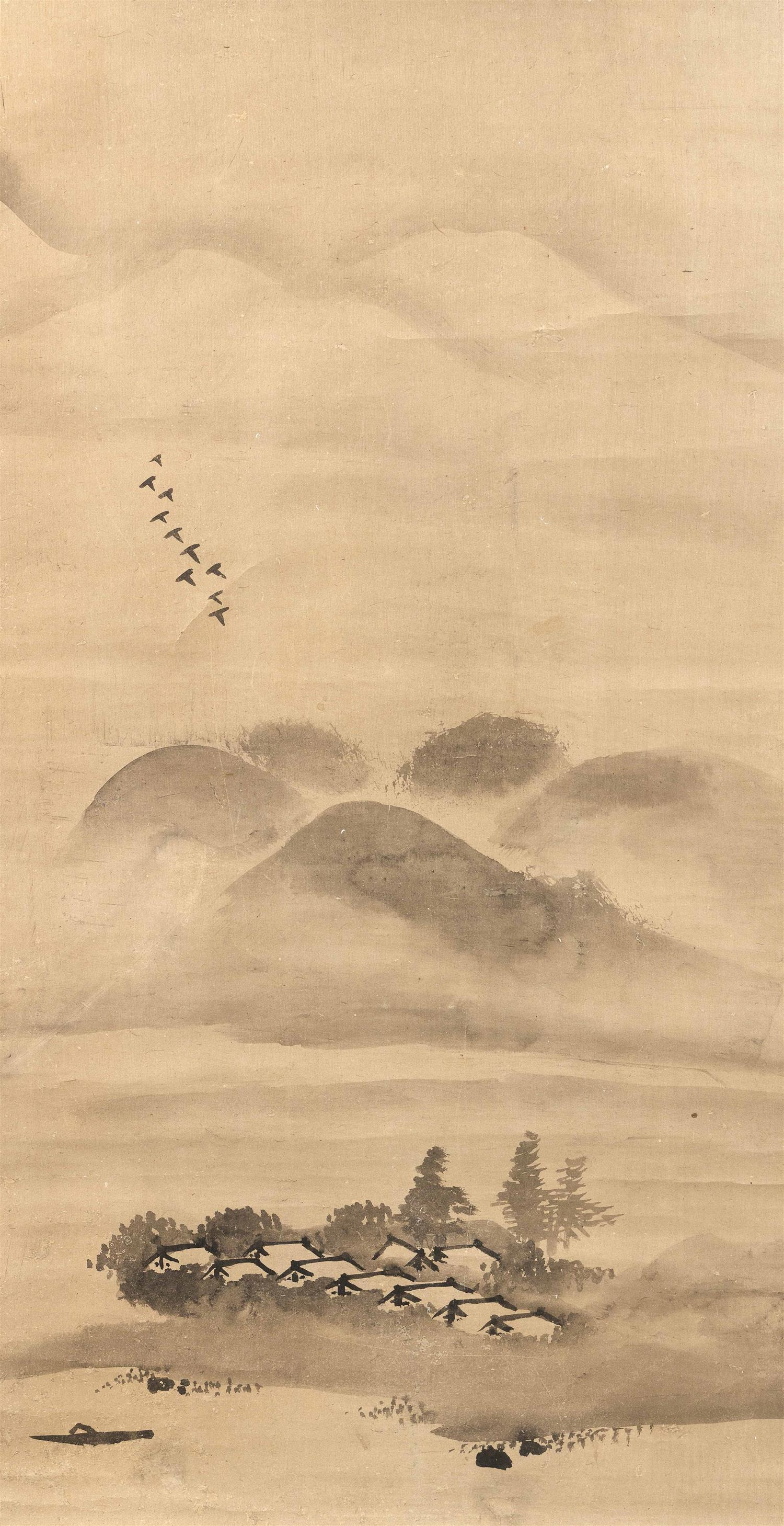 """JAPANESE SESSHU-STYLE SCROLL PAINTING ON PAPER Depicts birds in flight above a village. 34.5"""" x 17.5"""". With kiriwood box. Provenance..."""