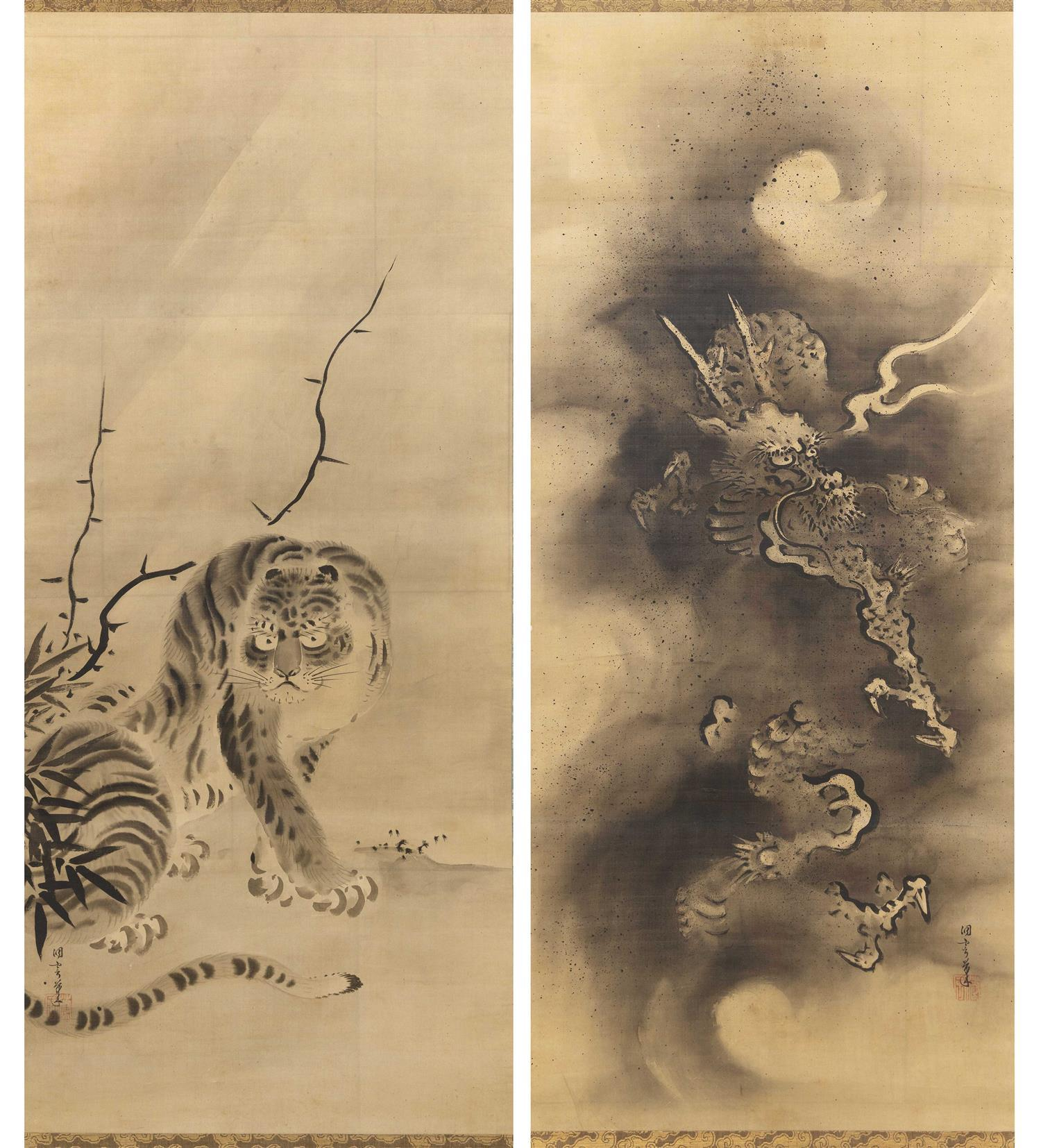 PAIR OF JAPANESE SCROLL PAINTINGS ON SILK BY KANO MASANOBU (1625-1694) Depict a fierce dragon with sumiboku embellishments, and a ti...