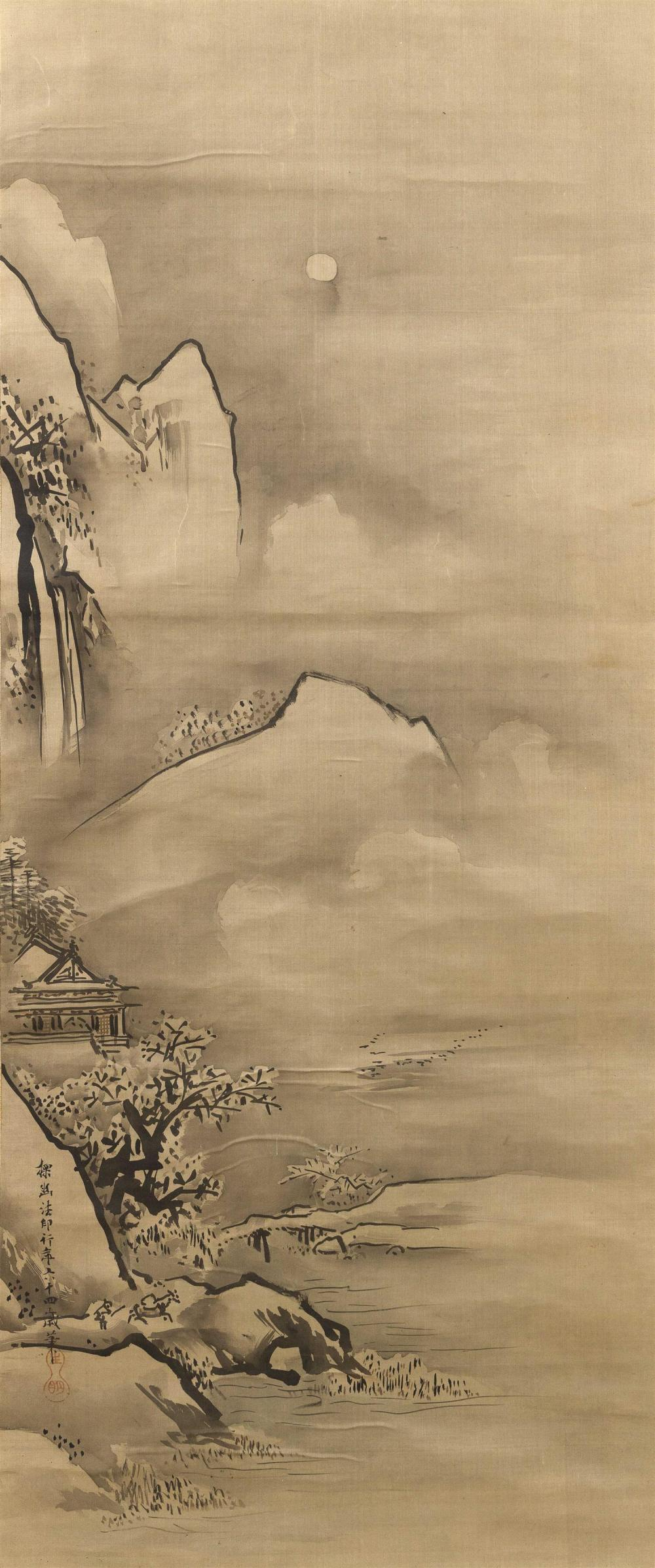 SET OF THREE JAPANESE SCROLL PAINTINGS ON SILK BY KANO TANYU (1602-1674) Painted in his 64th year. Central scroll depicts poet Li Po...
