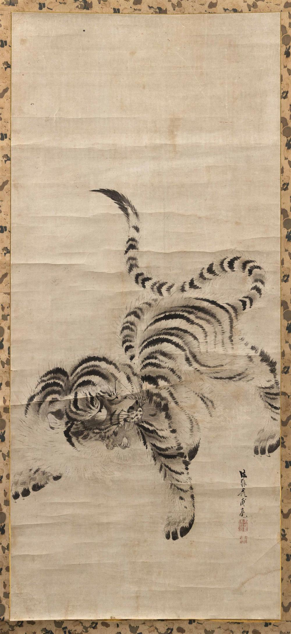 "JAPANESE SCROLL PAINTING ON PAPER ATTRIBUTED TO KISHI GANKU Depicts a fierce snarling tiger. Signed and seal marked. 48.25"" x 21.25""..."