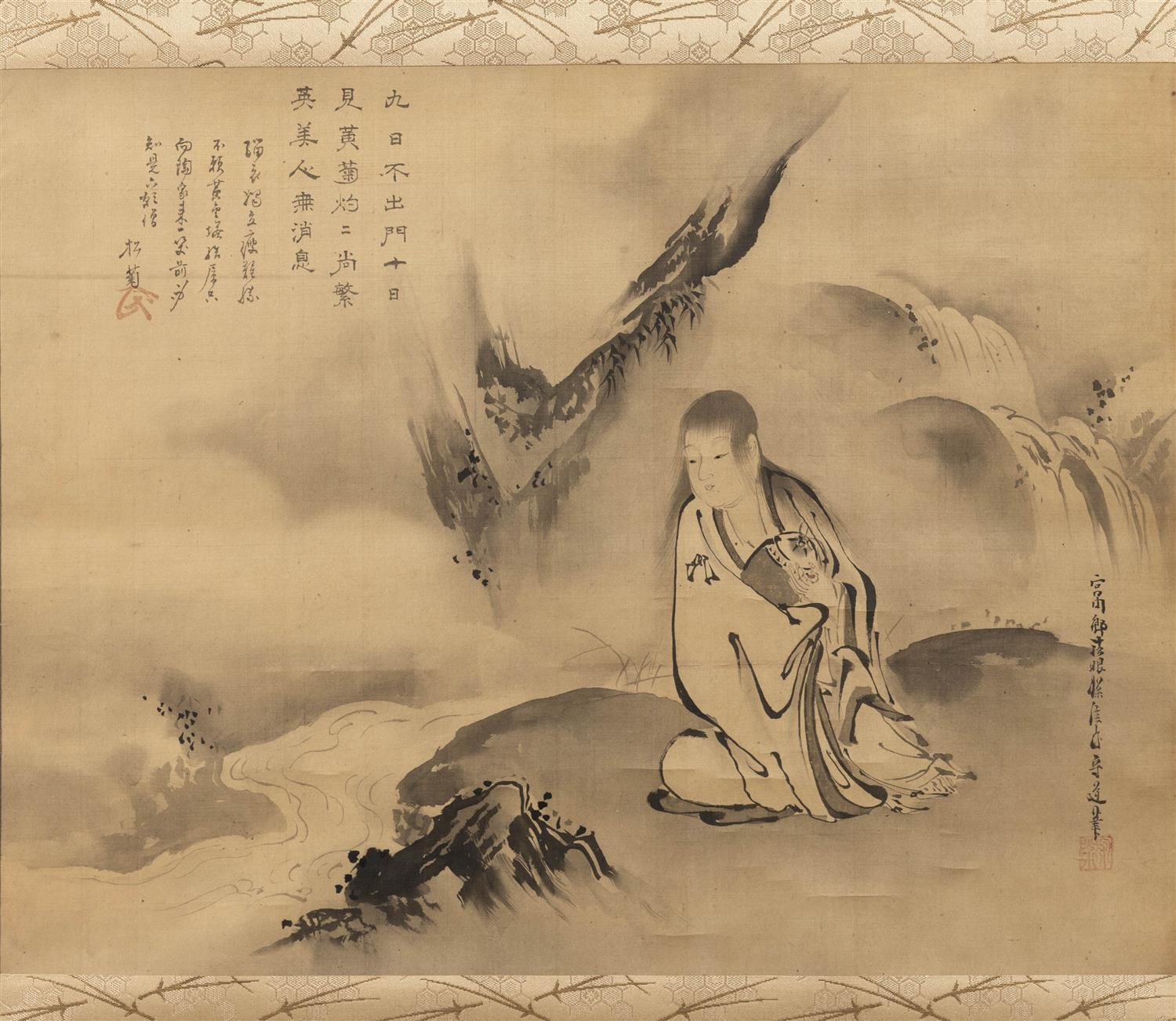JAPANESE SCROLL PAINTING ON SILK BY KANO TANSHIN MORIMICHI (1784-1835) Depicts a lohan seated by a stream and poetry. Signed and sea...