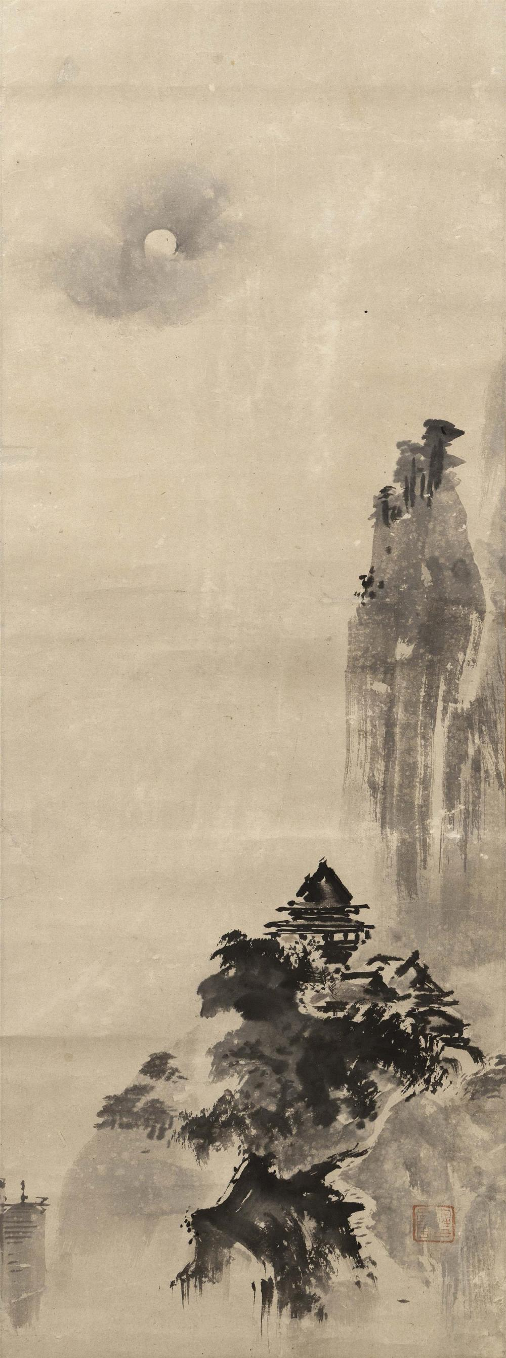 "JAPANESE SCROLL PAINTING ON PAPER IN THE MANNER OF SESSHU Depicts a pavilion and towering cliffs. 42.25"" x 15.75"". Provenance: The S..."