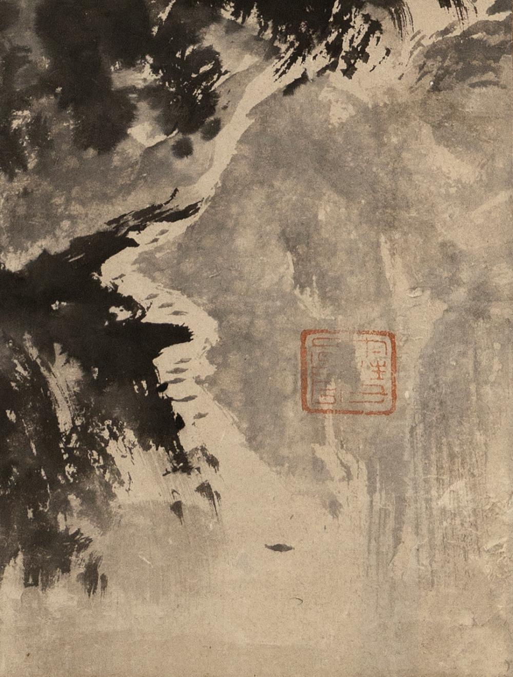 JAPANESE SCROLL PAINTING ON PAPER IN THE MANNER OF SESSHU Depicts a pavilion and towering cliffs. 42.25