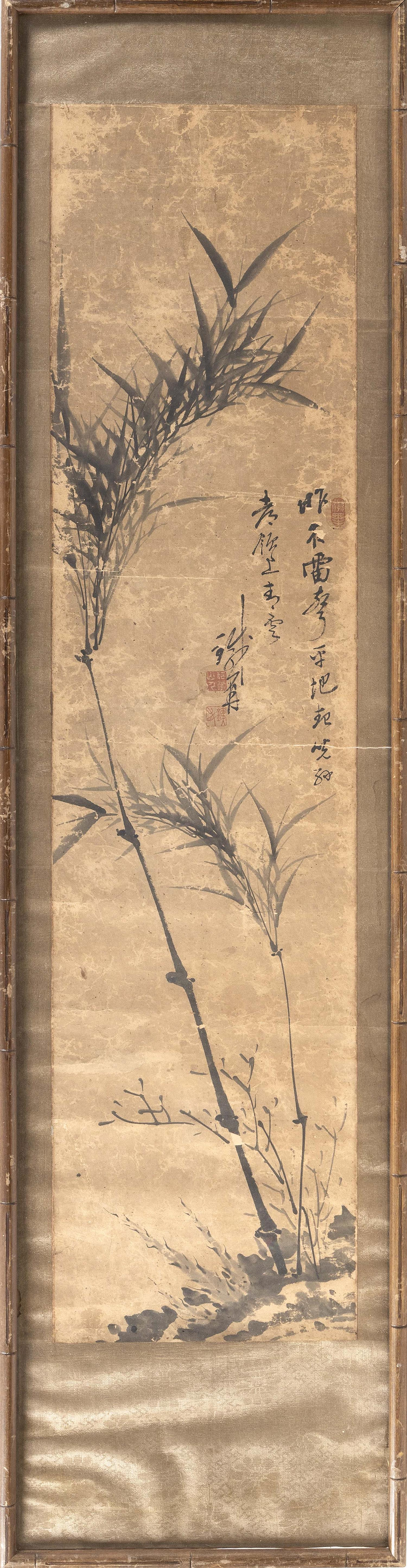 """CHINESE PAINTING ON PAPER Depicts bamboo and calligraphy. Signed and seal marked. 48.5"""" x 11.5"""". Framed 61"""" x 15.5"""". Provenance: The..."""