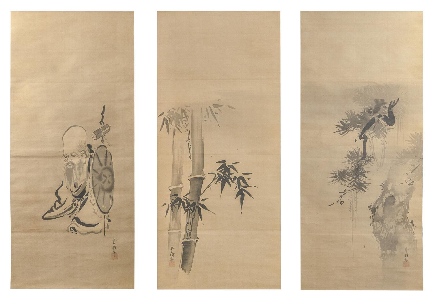 SET OF THREE JAPANESE SCROLL PAINTINGS ON SILK BY KANO YOSHIN Central scroll depicts Jurojin. Flanking scrolls depict bamboo and pin...