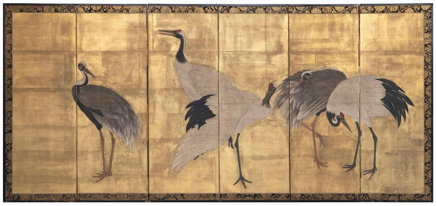 "JAPANESE SIX-PANEL SCREEN Depicts cranes against a gold ground. Unsigned. Height 68"". Total width 144"". Provenance: The Symmes / Shi..."