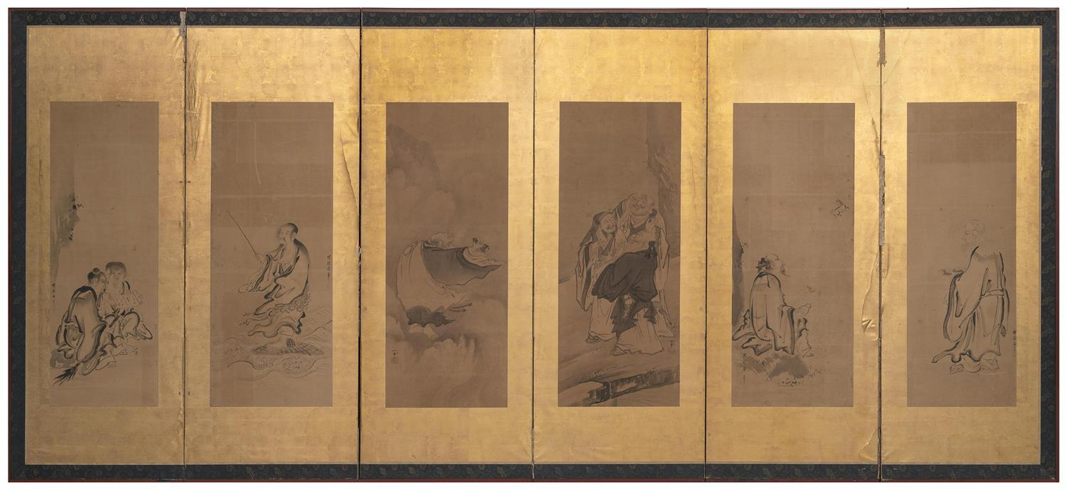 JAPANESE SIX-PANEL SCREEN MOUNTED WITH PAINTINGS ON PAPER Painted in the Kano style by various artists including Kano Sansetsu and K...