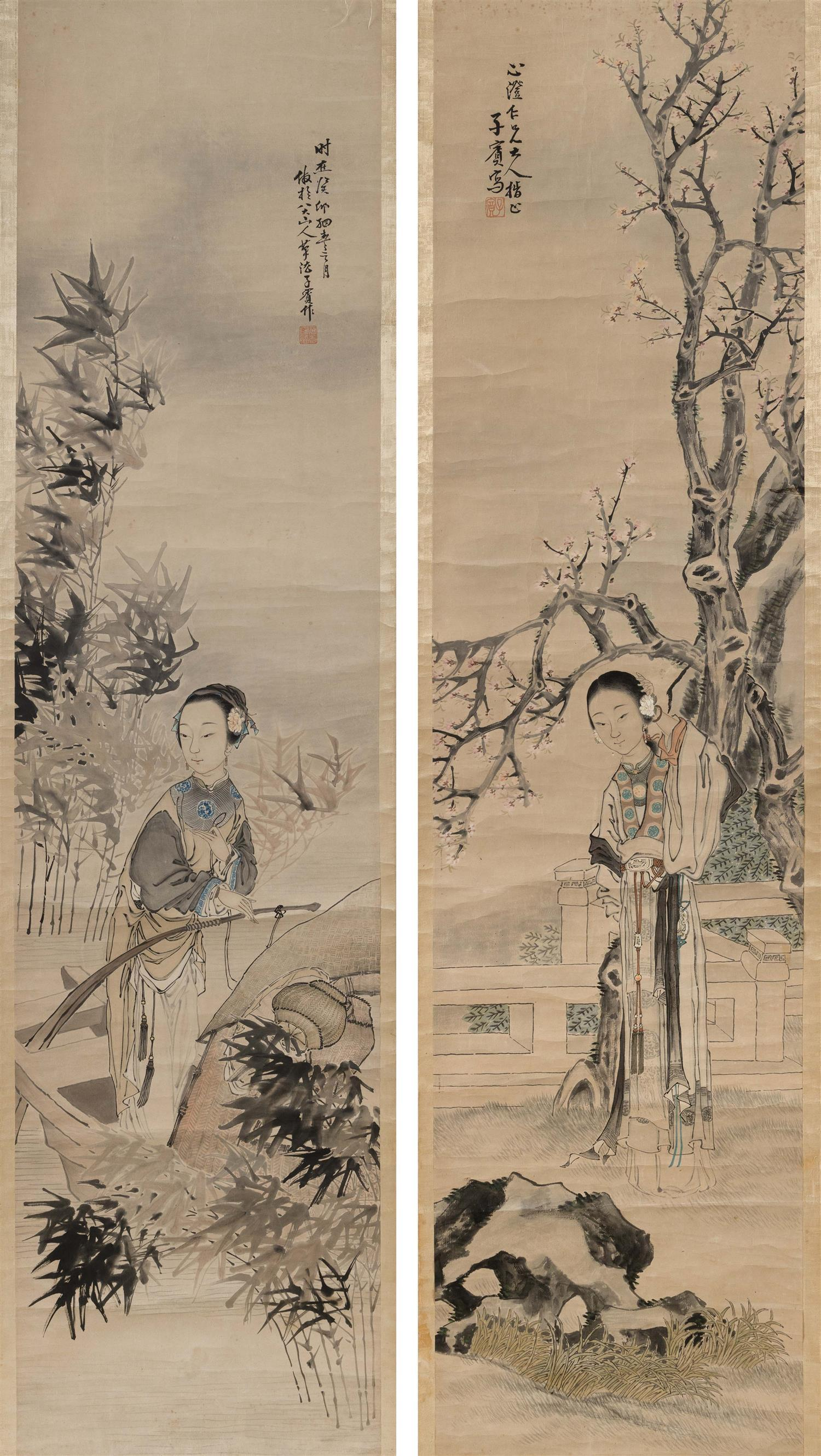 PAIR OF CHINESE SCROLL PAINTINGS ON PAPER BY TIEN SHAUPEN (ACTIVE CIRCA 1850) Depict ladies, one on a balcony and one in a boat. 33....