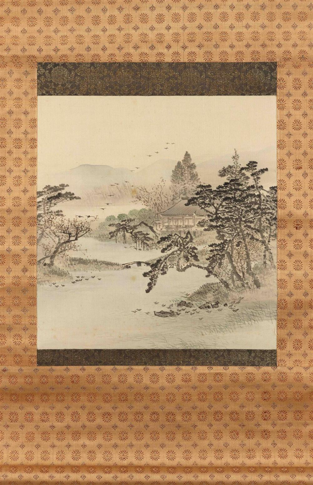 JAPANESE SCROLL PAINTING ON SILK Depicts a rural retreat with pond and flowering trees. 10.4
