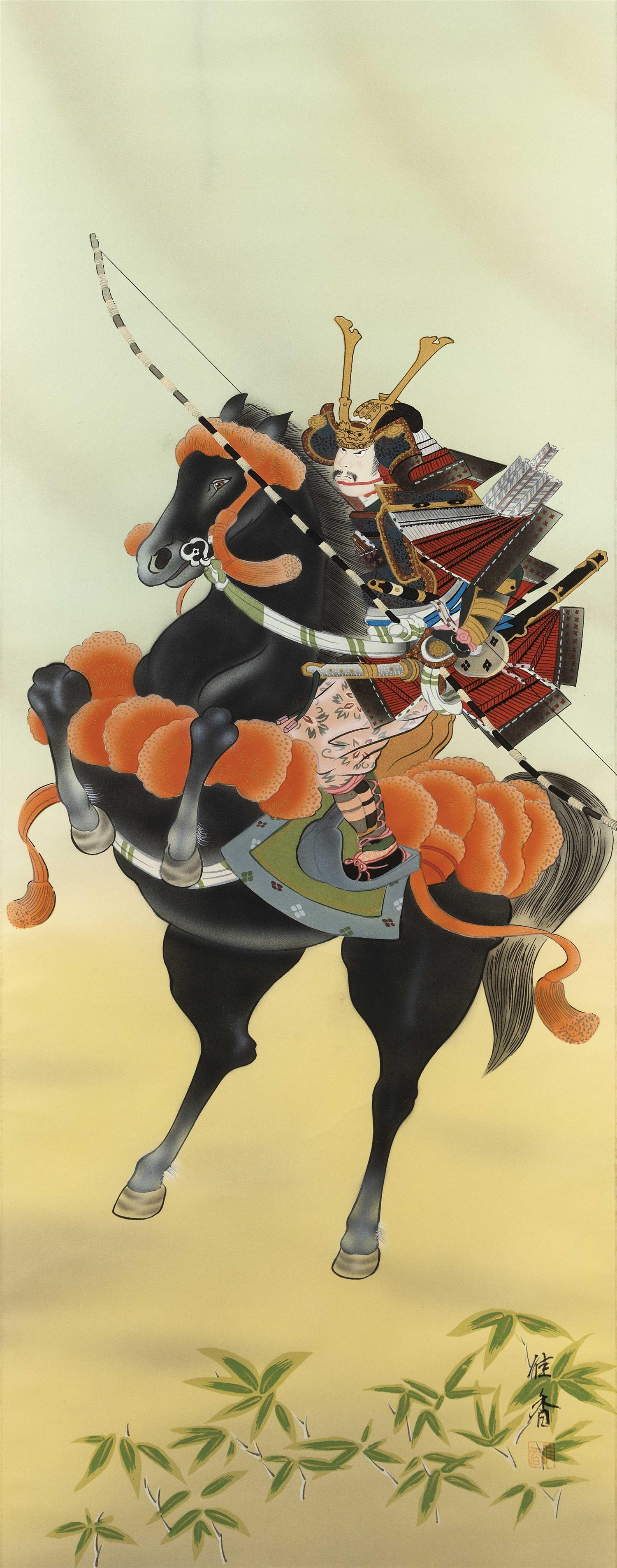 "JAPANESE SCROLL PAINTING ON SILK Depicts a mounted samurai. 40.5"" x 15.75"". Provenance: The Symmes / Shiro Kuma Collection."