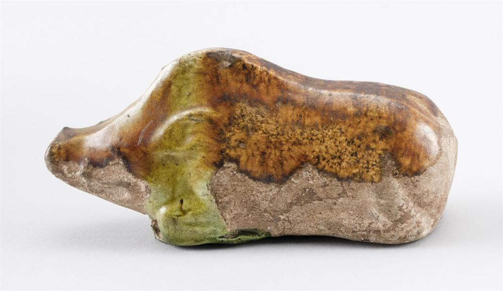 CHINESE SPINACH AND EGG GLAZE POTTERY FIGURE OF A RECLINING BOAR Length 4.5