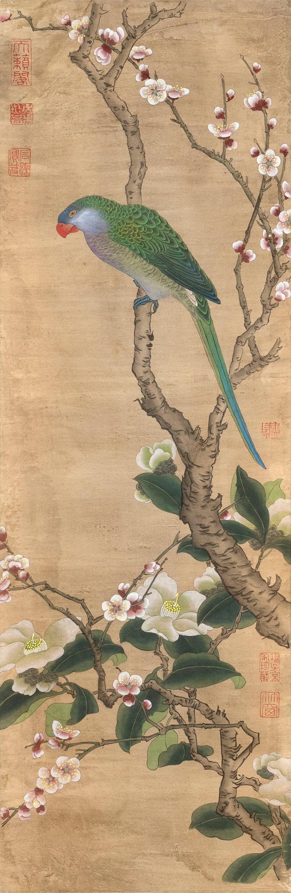 "CHINESE PAINTING ON PAPER After an 18th Century example. Depicts a green parrot on a tree branch. 34.25"" x 10.75"". Provenance: The S..."