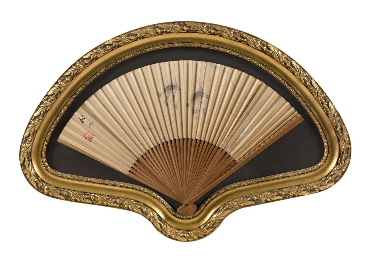 """PAINTED CHINESE FAN Depicts two fish and sea grasses. Length 15"""". Provenance: The Symmes / Shiro Kuma Collection."""