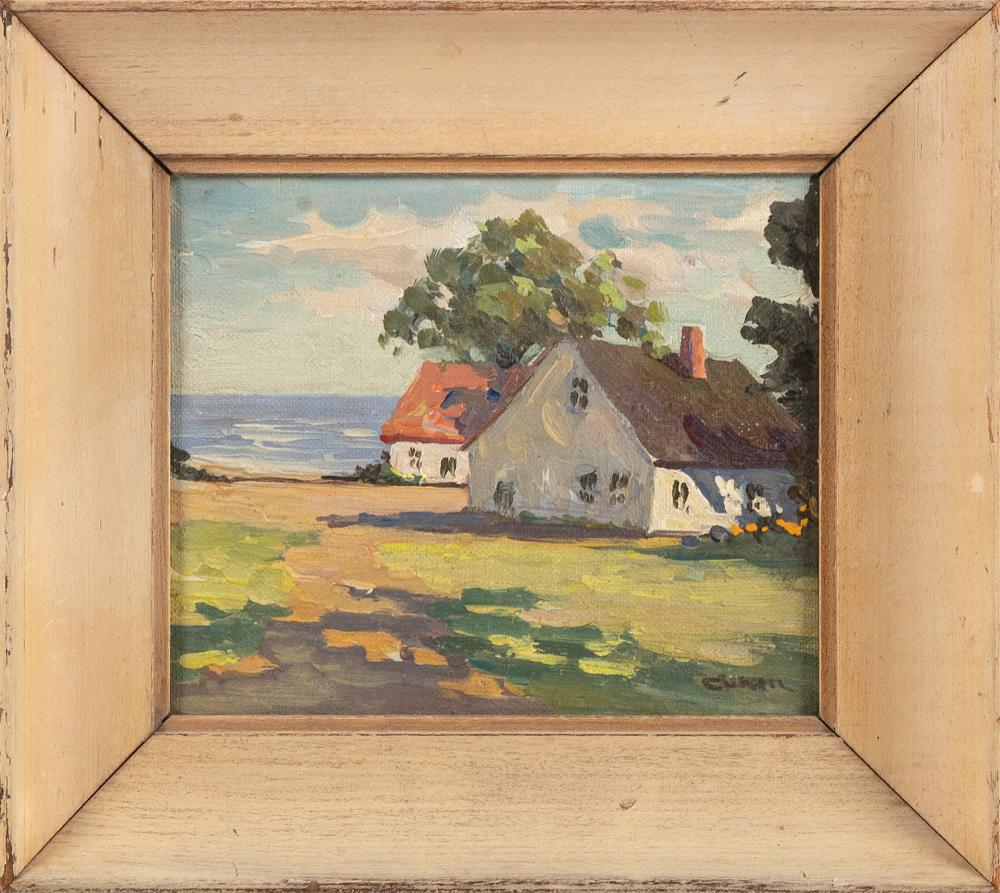 """IRENE STRY (Massachusetts/New York/Hungary, 1899/1904-1963), Cottages by the water., Oil on canvas board, 5"""" x 6"""". Framed 7.5"""" x 8.5""""."""