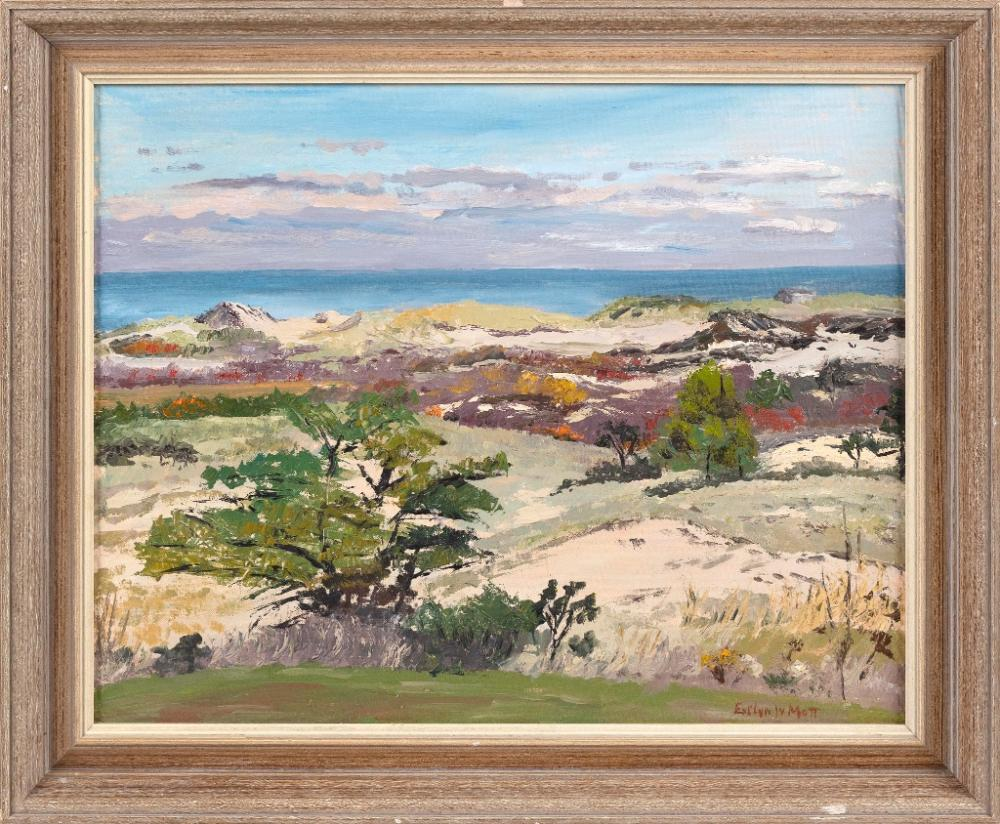 "EVEYLN S. MOTT (America, 20th Century), Dune landsapce., Oil on canvas board, 16"" x 20"". Framed 20"" x 24""."