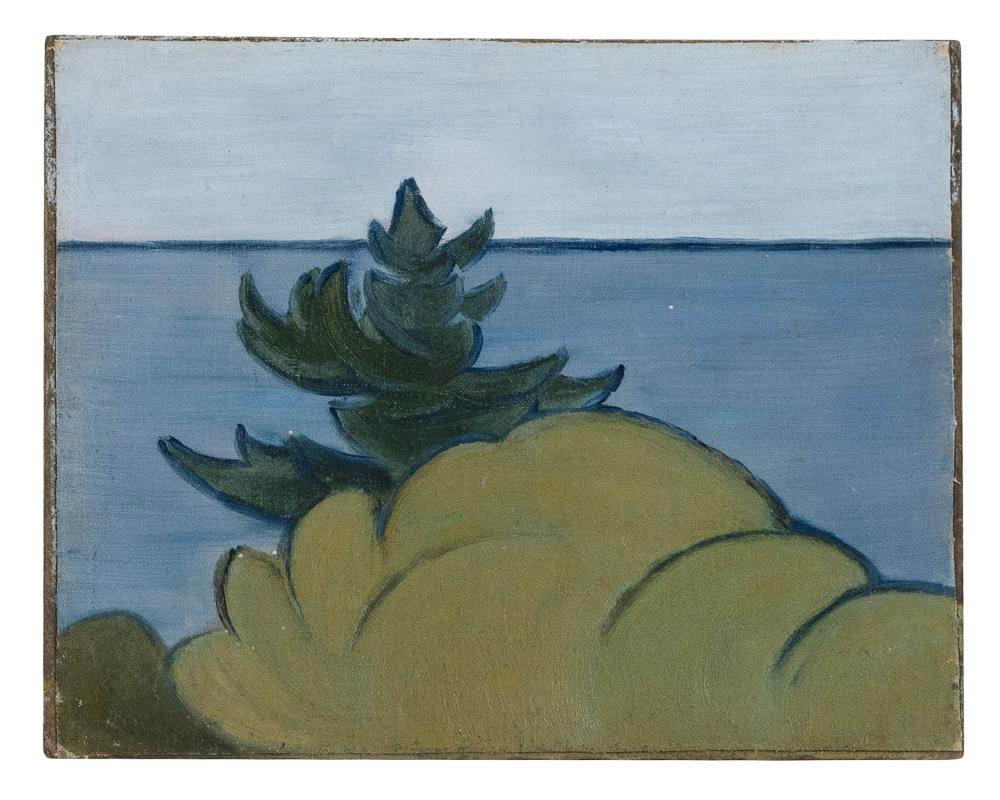 """AGNES ANNE ABBOT (Massachusetts/Colorado/Germany, 1897-1992), Pine and sea., Oil on canvas laid down on board, 8.25"""" x 10.25"""". Unframed."""