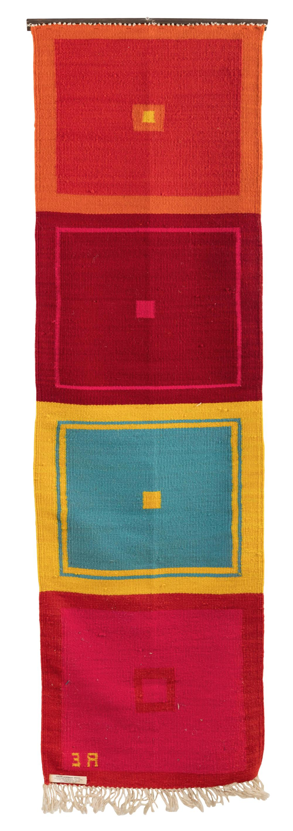"""EVELYN ACKERMAN FOR ERA INDUSTRIES (California/Michigan, 1924-2012), Geometric tapestry, Mexico, 1960s., Woven wool mounted to a wooden rod, 68"""" x 18.5""""."""