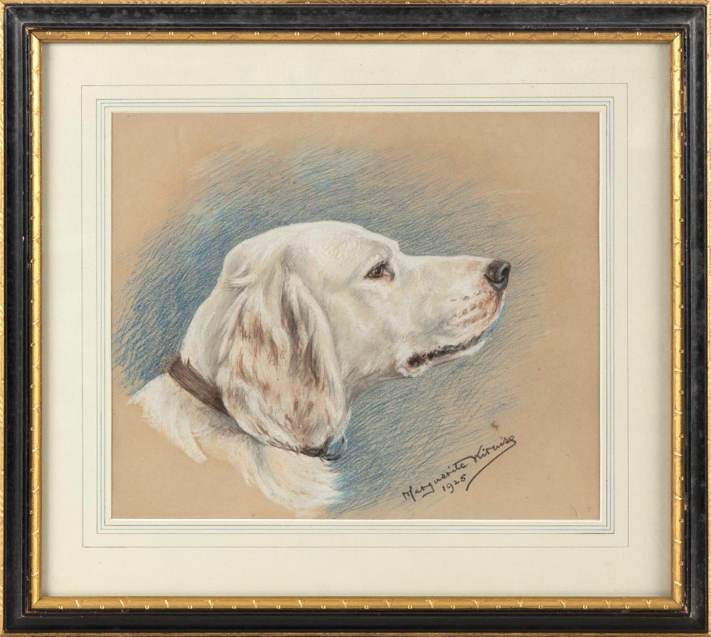 """MARGUERITE KIRMSE (Connecticut/United Kingdom, 1885-1954), Portrait of an English setter., Pastel on paper, 11.25"""" x 13.25"""" sight. Framed 18"""" x 20""""."""