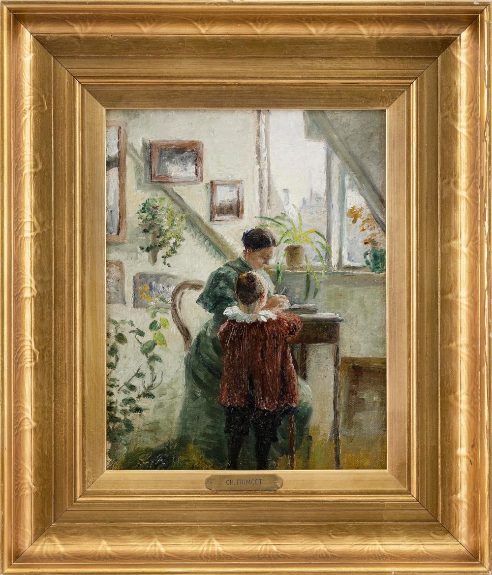 "CHARLOTTE FRIMODT (Denmark, 1862-1950), ""Interiør i sollys med mor og barn"" (Interior in Sunlight with Mother and Child)., Oil on canvas board, 11.75"" x 9"". Framed 17"" x 14.5""."