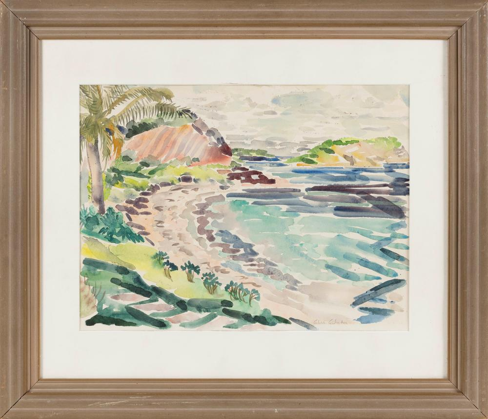 """ALICE STANLEY ACHESON (Washington, D.C./Michigan, 1895-1996), Shore scene, possibly the Caribbean., Watercolor on paper, 14"""" x 19"""" sight. Framed 24"""" x 28""""."""