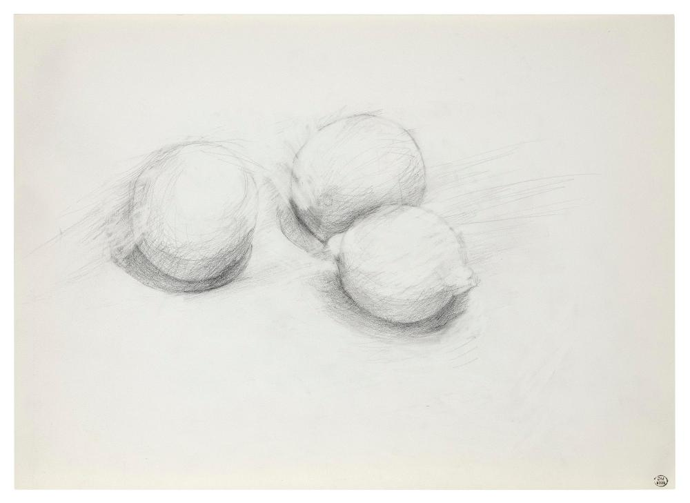 "DORA MAAR (France, 1907-1997), Three lemons., Pencil on paper, 11.5"" x 16.5"". Unframed."