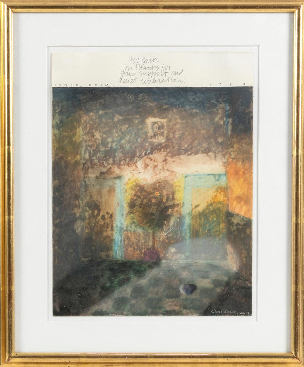 """CAROL ANTHONY (New Mexico/Connecticut, b. 1943), """"Inner Room""""., Oil crayon on paper, 12"""" x 8.75"""". Framed 17"""" x 13.75""""."""