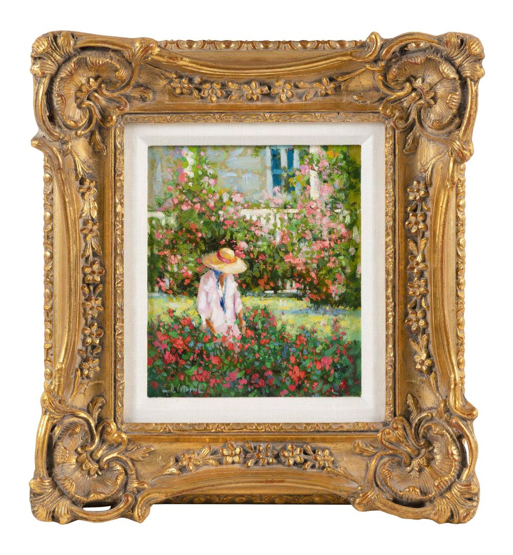 """DEBROAH COTRONE (Connecticut, Contemporary), A woman tending to a flower garden., Oil on board, 8"""" x 7"""". Framed 14"""" x 13""""."""