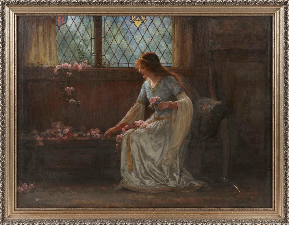 """JENNIE AUGUSTA BROWNSCOMBE (New York, 1850-1936), A woman arranging roses., Oil on canvas, 23"""" x 31"""". Framed 26.25"""" x 34.5""""."""